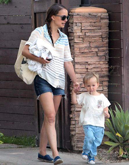 Natalie Portman Steps Out With Her Son Aleph