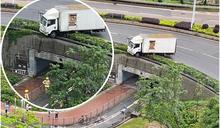 將軍澳貨車猛撞鐵欄擱花槽險衝落行人路 碎片擊中單車男