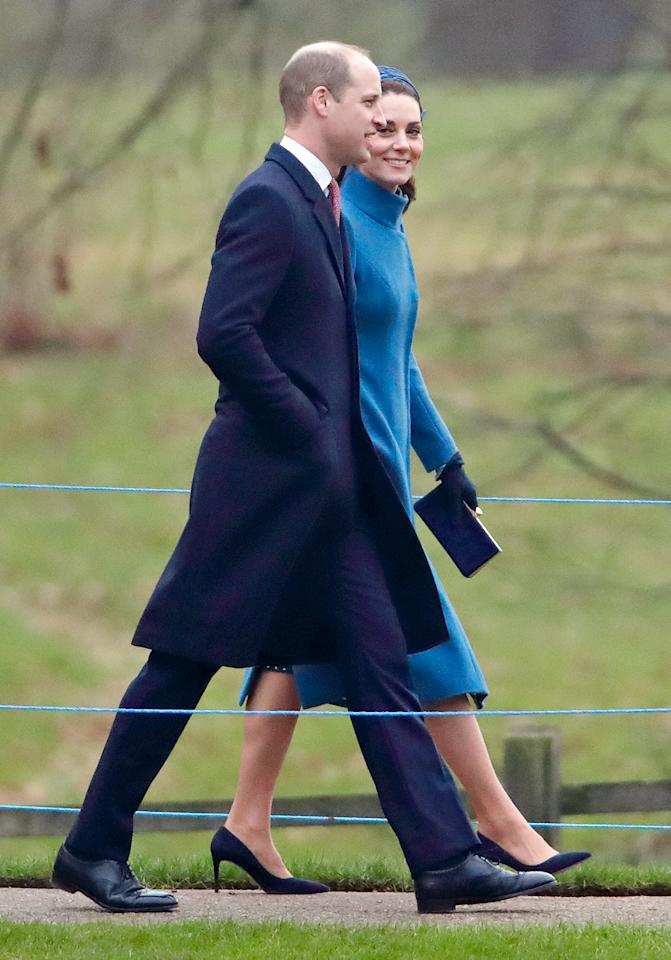 <p>This is the first time that Kate and William have been spotted since the Christmas Day service. Neither the Duke nor Duchess of Sussex appeared to be in attendance at the service today. Photo: Getty </p>