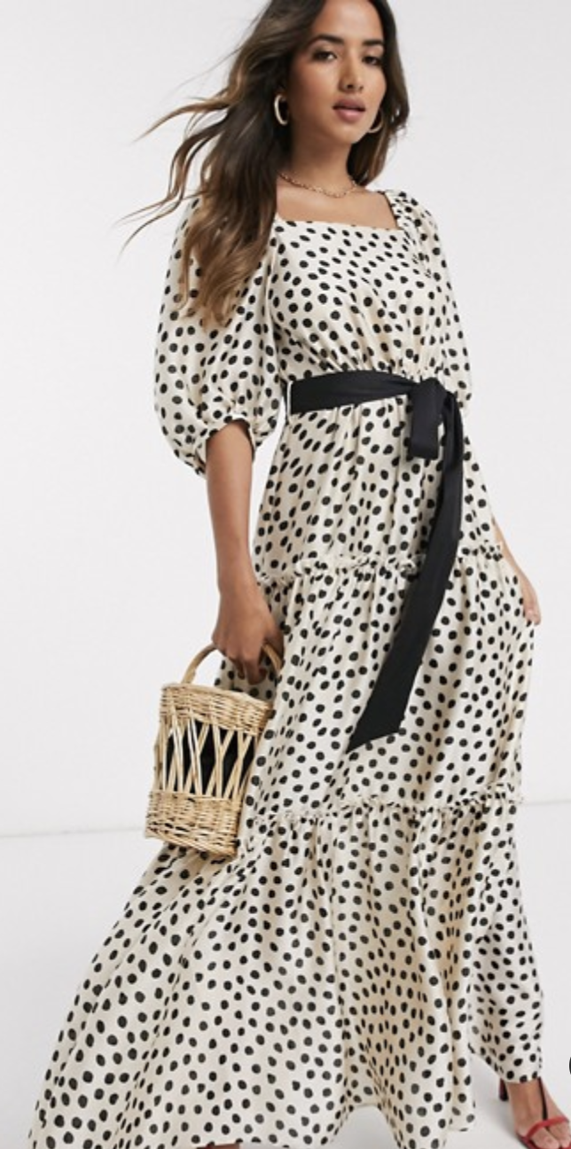 Mango tiered volume sleeve maxi dress in polka dot