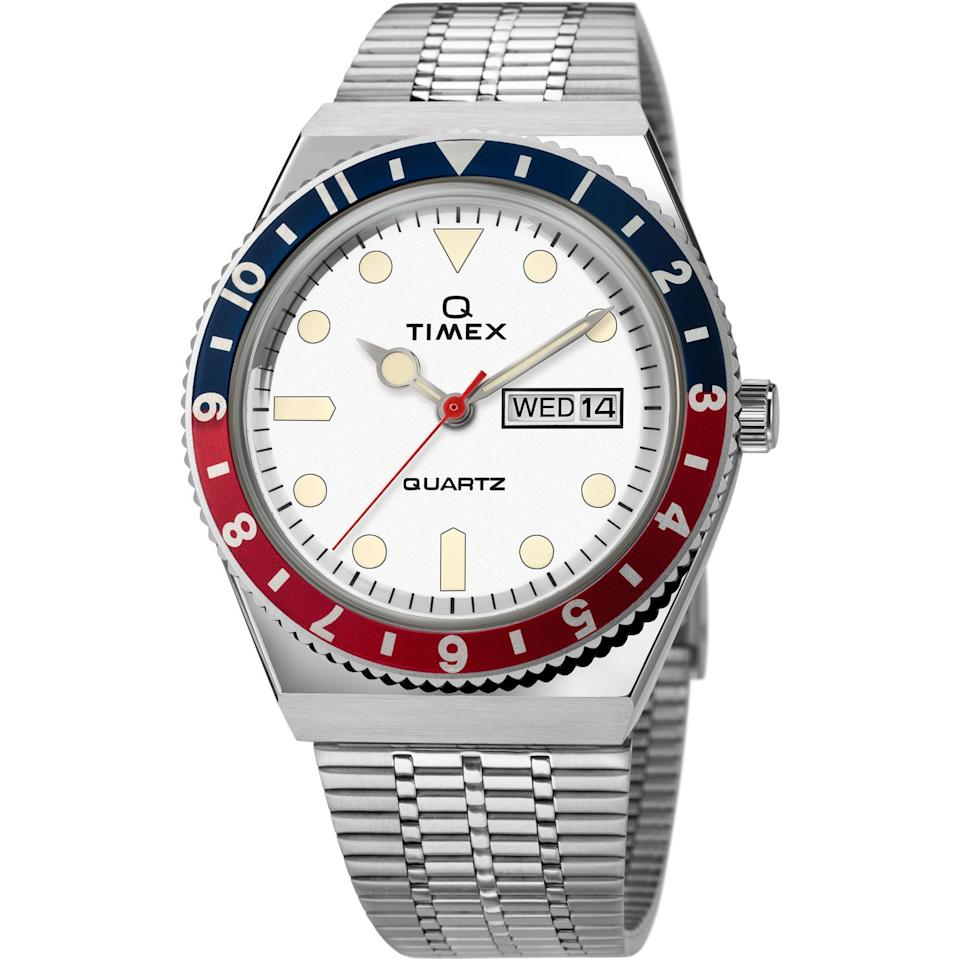 """<p><strong>Timex</strong></p><p>timex.com</p><p><strong>$179.00</strong></p><p><a href=""""https://go.redirectingat.com?id=74968X1596630&url=https%3A%2F%2Fwww.timex.com%2Fq-timex-reissue-38mm-stainless-steel-bracelet-watch%2FQ-Timex-Reissue-38mm-Stainless-Steel-Bracelet-Watch.html&sref=https%3A%2F%2Fwww.esquire.com%2Fstyle%2Fmens-accessories%2Fg32598571%2Fq-timex-reissue-watch-colors%2F"""" target=""""_blank"""">Buy</a></p><p>Call it the Crystal Pepsi.</p>"""