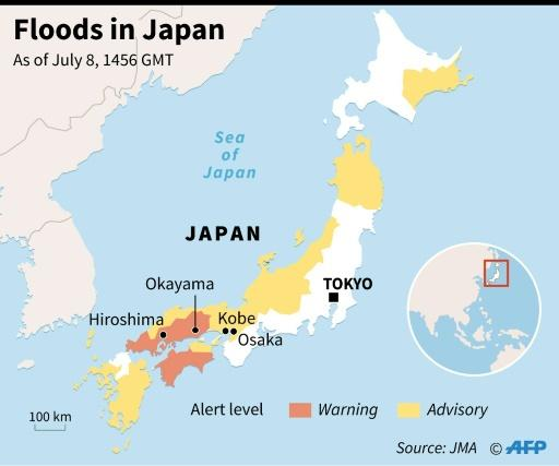 Map showing parts of Japan that have been swamped by heavy rains and flooding