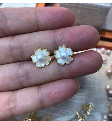Pearl earring,bridal ear pearl,silver earrings stud,flower pearl studs,freshwater pearl earring stud,wedding earings jewelry bridesmaid