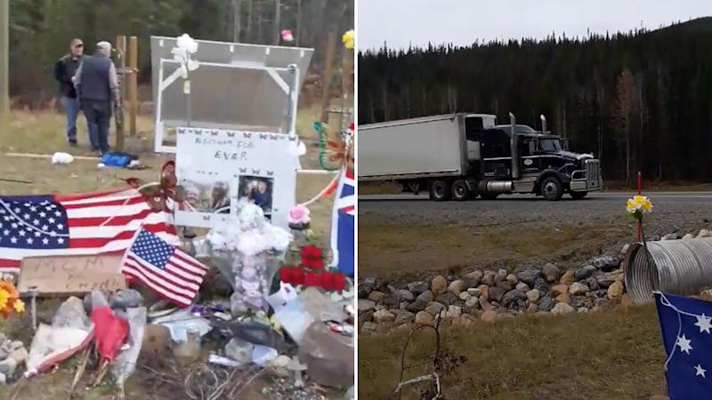 The tributes for Lucas Fowler and Chynna Deese are pictured on the left, and on the right is a truck parked on the road next to the memorial site.