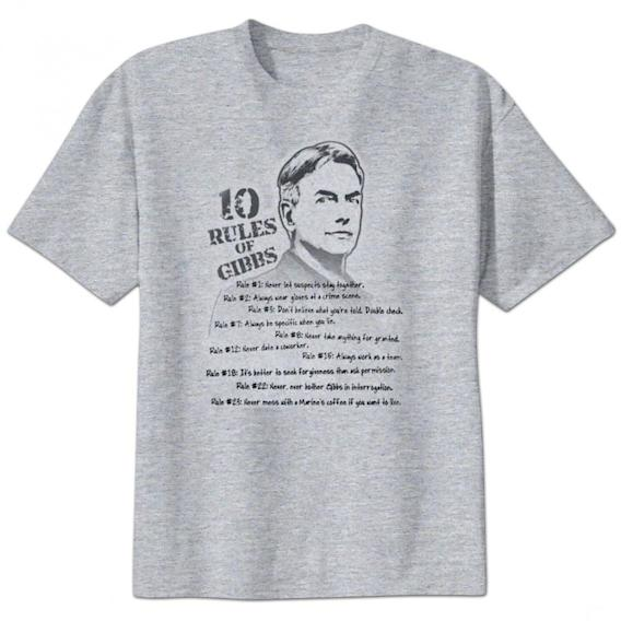"""NCIS"" 10 Rules of Gibbs T-Shirt"