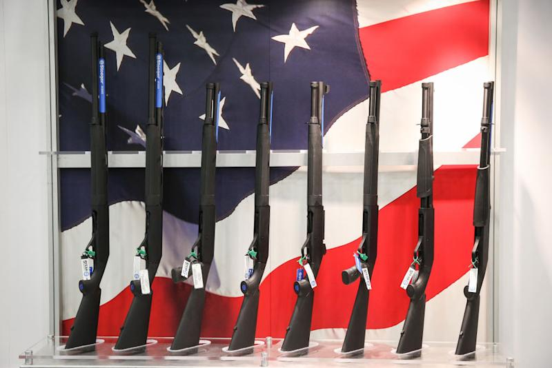 Firearms are pictured in an exhibit hall at the Kay Bailey Hutchison Convention Center during the NRA's annual convention in Dallas, Texas. Source: Getty