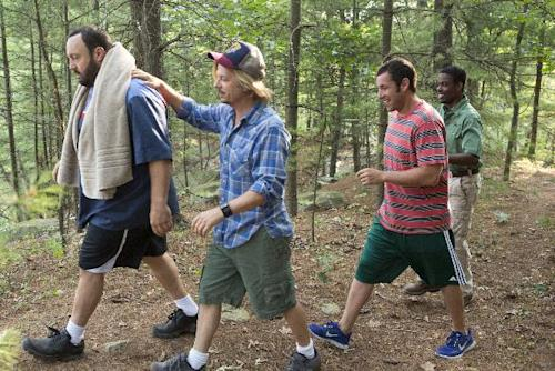"This film publicity image released by Columbia Pictures shows, from left, Kevin James, David Spade, Adam Sandler and Chris Rock in a scene from ""Grown Ups 2."" (AP Photo/Sony - Columbia Pictures, Tracy Bennett)"