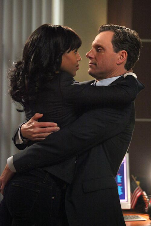 "This image released by ABC shows Kerry Washington as Olivia Pope, left, and Tony Goldwyn as President Fitzgerald Grant in a scene from the ABC series ""Scandal."" (AP Photo/ABC, Richard Cartwright)"