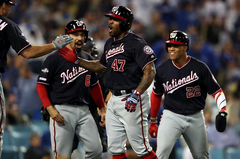 Howie Kendrick celebrates his go-ahead grand slam in Game 5 of the NLDS against the Dodgers. (Photo by Rob Leiter/MLB Photos via Getty Images)