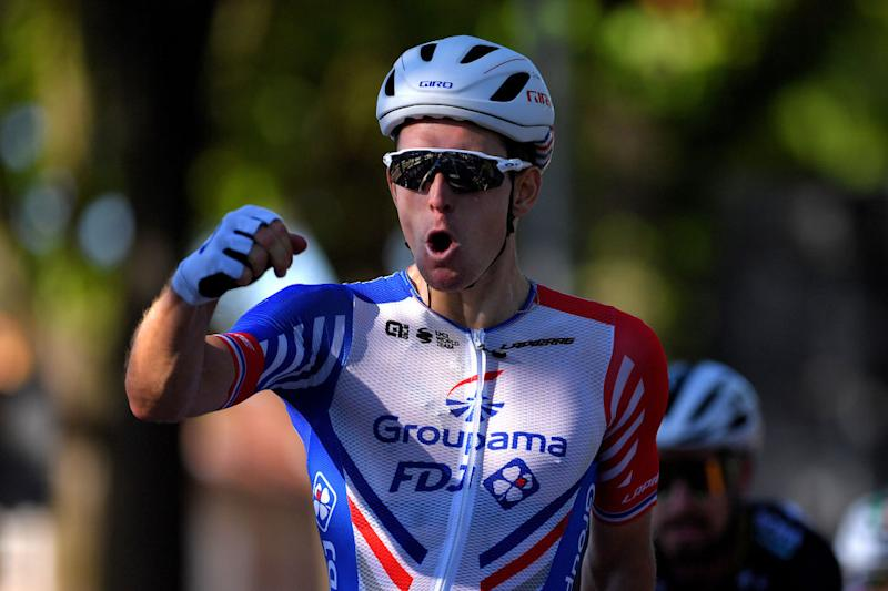 TURIN ITALY AUGUST 05 Arrival Arnaud Demare of France and Team Groupama FDJ Celebration during the 101st Milano Torino 2020 a 198km race from Mesero to Stupinigi Turin MilanoTorino on August 05 2020 in Stupinigi Turin Italy Photo by Tim de WaeleGetty Images