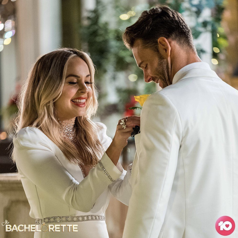 A photo of Angie Kent and Carlin Sterritt in episode one of The Bachelorette Australia 2019.