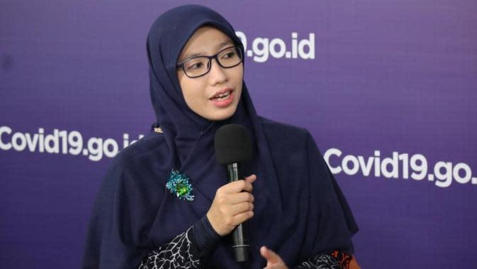 Tim Pakar Satuan Tugas Penanganan COVID-19 Dewi Nur Aisyah sampaikan dalam pekan terakhir terjadi kenaikan kasus yang cukup tinggi di Provinsi Jawa Barat saat dialog di Graha BNPB, Jakarta, Senin (10/8/2020). (Dok Tim Komunikasi Satgas Nasional)
