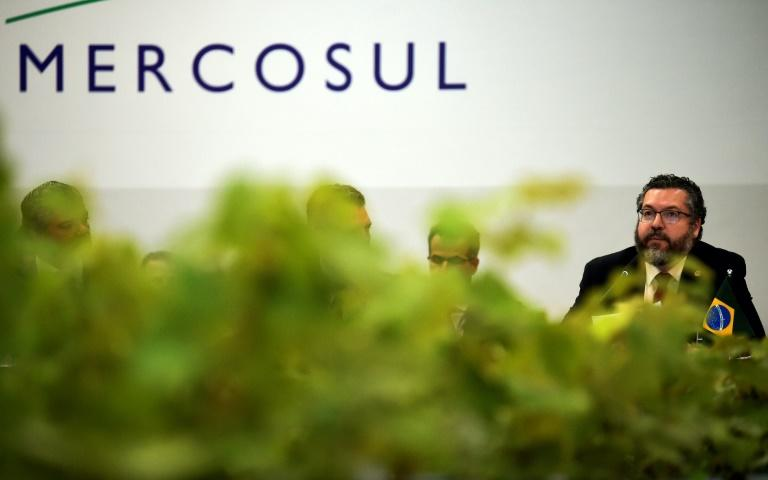 Brazil's Foreign Minister Ernesto Araujo at the opening of the Mercosur summit in southern Brazil