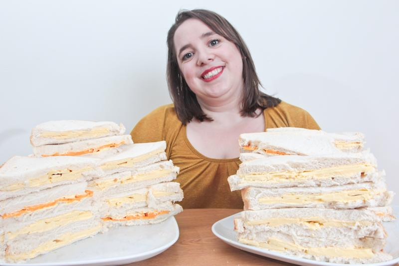 April Griffiths, 29, lives off a diet of cheese sandwiches. [Photo: SWNS]