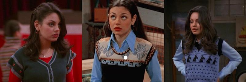 Mila Kunis donning Jackie Burkhart's favourite sweater tops on That 70s show (Photos in BeFunky Collage via We Heart It)