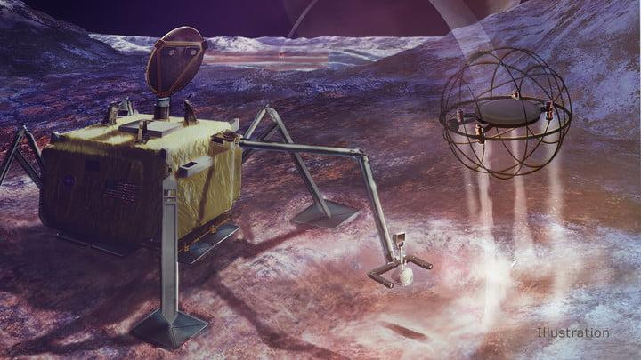 Moons In this artist's concept, a SPARROW robot uses steam propulsion to hop away from its lander home base to explore an icy moon's surface.