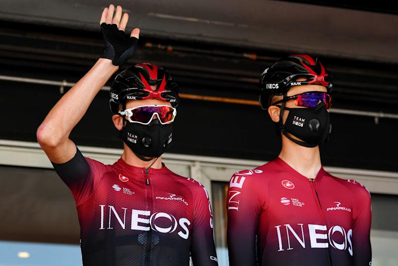 BEZIERS FRANCE AUGUST 01 Start Christopher Froome of The United Kingdom Dylan Van Baarle of The Netherlands and Team Ineos Covid Safe measures Team Presentation during the 44th La Route dOccitanie La Depeche du Midi 2020 Stage 1 a 187km stage from Saint Affrique to Cazouls ls Bziers RouteOccitanie RDO2020 on August 01 2020 in Beziers France Photo by Justin SetterfieldGetty Images