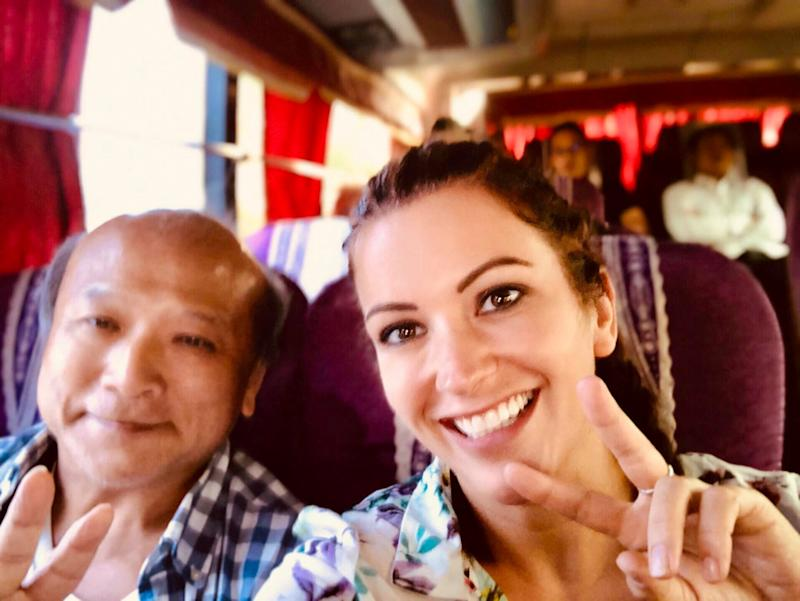 Elaine Harris photographed with a new friend she met during one of her bus rides [Photo: SWNS]