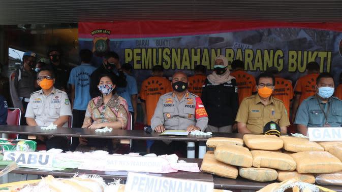 Polres Metro Tangerang Musnahkan 200 Kilogram Ganja