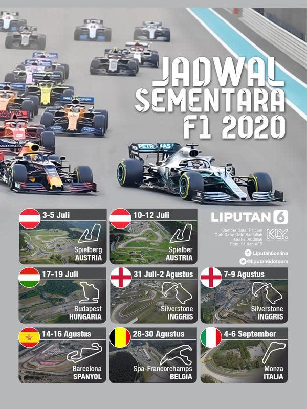 Infografis Jadwal sementara F1 2020 (Liputan6.com/Abdillah)