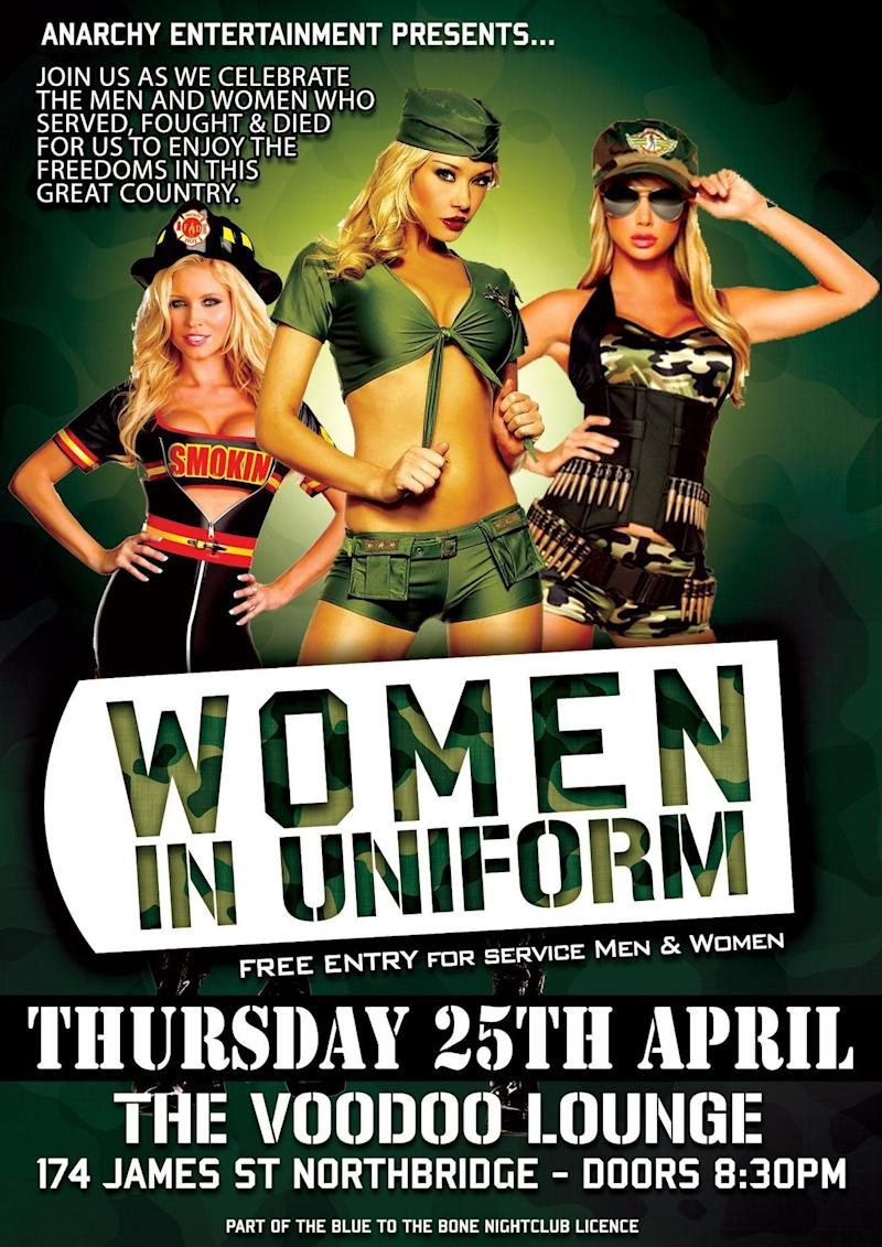 The club has stirred controversy after advertising its Women in Uniform event. Source: Facebook/Voodoo Lounge Northbridge