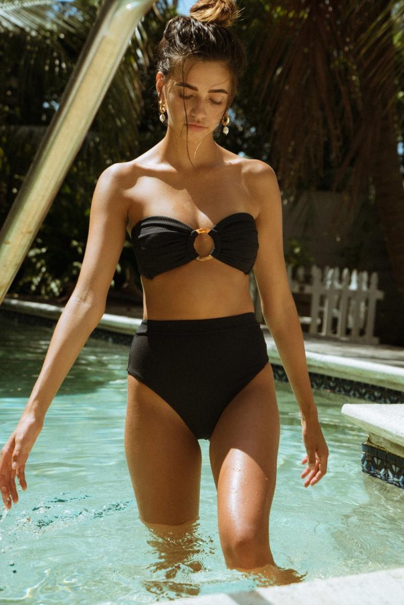 Black Rib Tori Bandeau Bikini Top. Image via Montce.