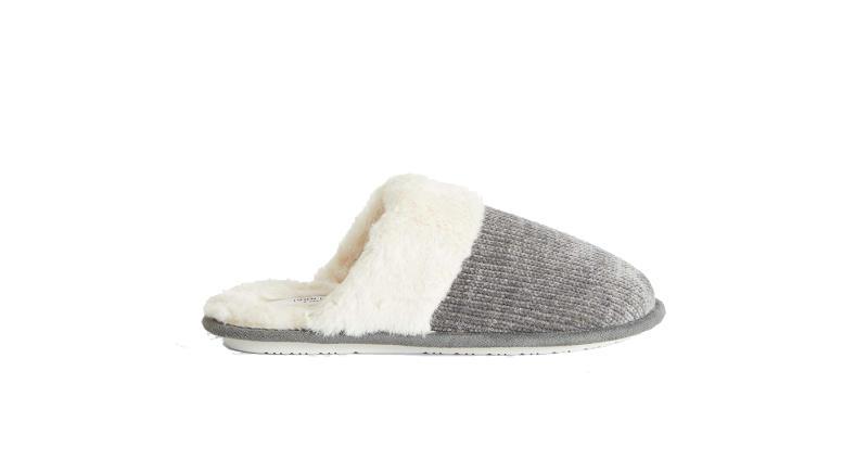 Faux Fur Chenille Mule Slippers