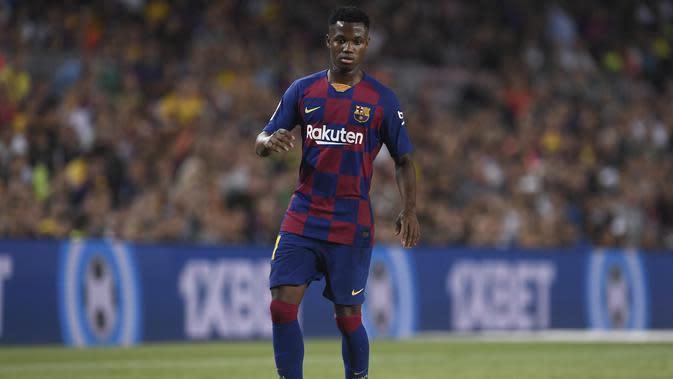 Wonderkid Barcelona, Ansu Fati, saat diberi kesempatan tampil melawan Real Betis, Minggu (25/8/2019) (Josep LAGO / AFP) (Josep LAGO / AFP)