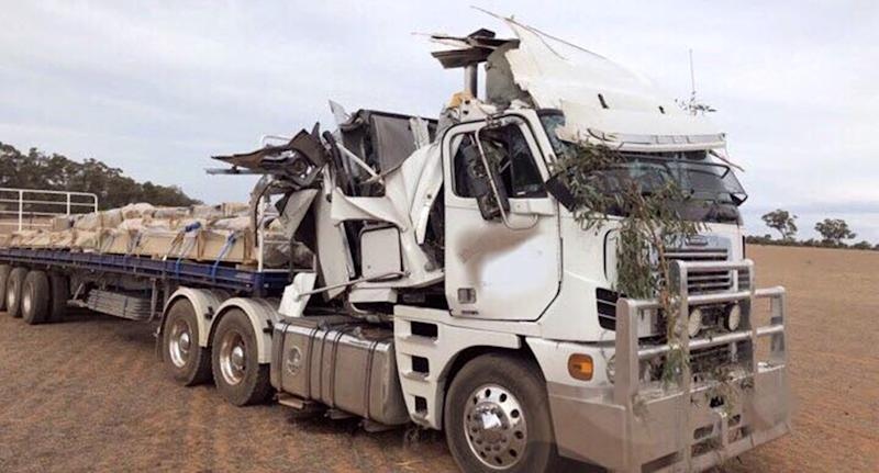 Coughing fit causes truck crash in Mathoura, NSW