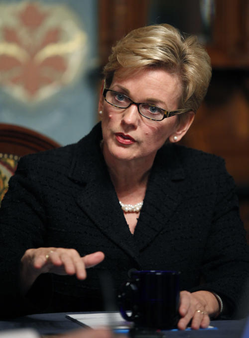 In this Dec 10, 2010 file photo, former Michigan Gov. Jennifer Granholm talks during a year-end interview at the state Capitol in Lansing, Mich. Granholm says she soon will leave Current TV, where she has hosted a public affairs program for the past year. Granholm made the announcement in a Facebook post late Wednesday, Jan. 2, 2013, the same day it was revealed that Pan-Arab news channel Al-Jazeera has acquired Current TV. (AP Photo/Al Goldis)