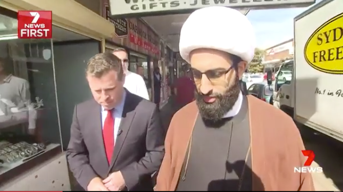 Sheikh Tawhidi took 7 News reporter Bryan Seymour with him on a visit to Lakemba in Sydney. Photo: 7 News.