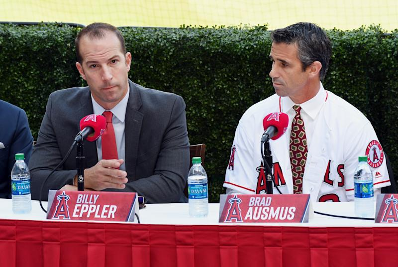 ANAHEIM, CA - OCTOBER 22: Los Angeles Angels of Anaheim GM Billy Eppler talks to the media after Brad Ausmus was named the Angels newest manager and 17th different manager in club history during a press conference held on October 22, 2018 at Angel Stadium of Anaheim in Anaheim, CA. (Photo by John Cordes/Icon Sportswire via Getty Images)