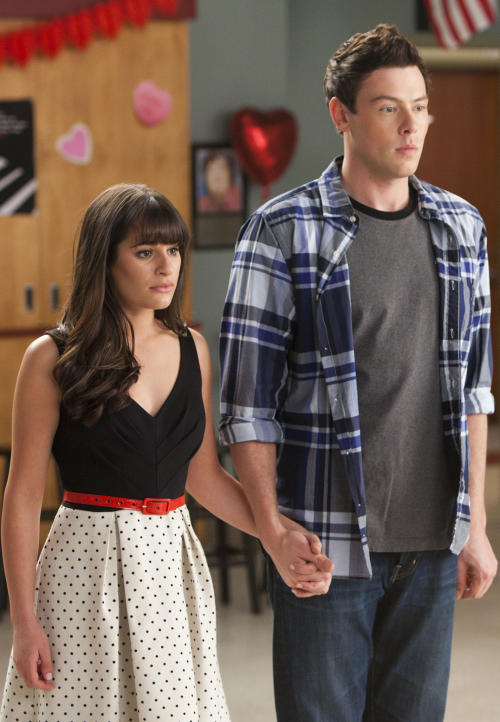 "In this undated publicity image released by Fox, Lea Michele, left, and Cory Monteith are shown in a scene from ""Glee."" Monteith, who shot to fame in the hit TV series ""Glee"" but was beset by addiction struggles so fierce that he once said he was lucky to be alive, was found dead in a Vancouver hotel room, police said. He was 31. (AP Photo/Fox, Adam Rose)"