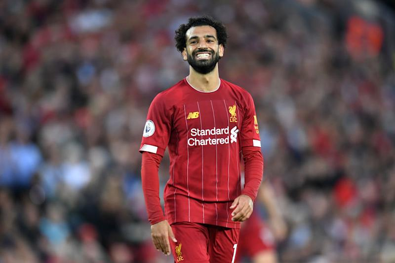 Mohamed Salah of Liverpool smiles during the Premier League match between Liverpool FC and Norwich City at Anfield on August 09, 2019 in Liverpool, United Kingdom. (Photo by Michael Regan/Getty Images)