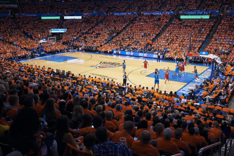 OKLAHOMA CITY, OKLAHOMA - APRIL 19: A general view of Chesapeake Energy Arena during game three of the Western Conference quarterfinals between the Oklahoma City Thunder and the Portland Trail Blazers on April 19, 2019 in Oklahoma City, Oklahoma. NOTE TO USER: User expressly acknowledges and agrees that, by downloading and or using this photograph, User is consenting to the terms and conditions of the Getty Images License Agreement. (Photo by Cooper Neill/Getty Images)