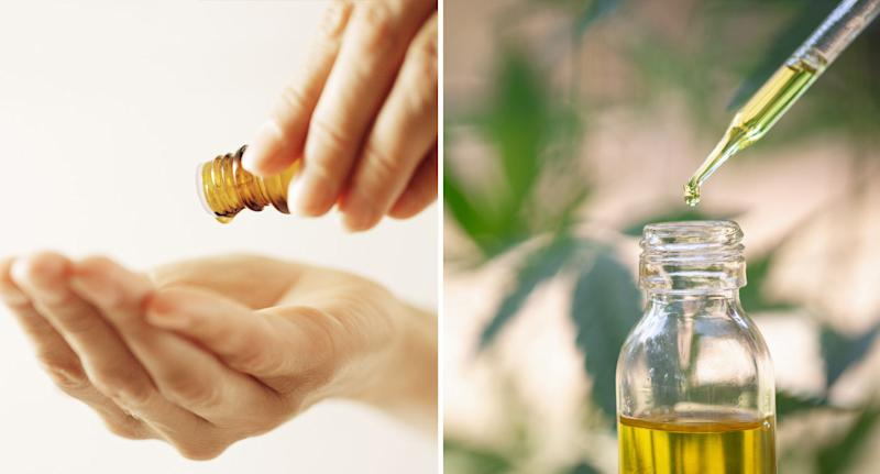 Essential oil shown being tipped into hand and dripped into container after Queensland Health warning.
