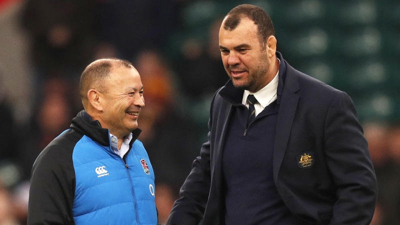 Eddie Jones and Michael Cheika will come head-to-head this weekend when Australia take on England. (Getty Images)