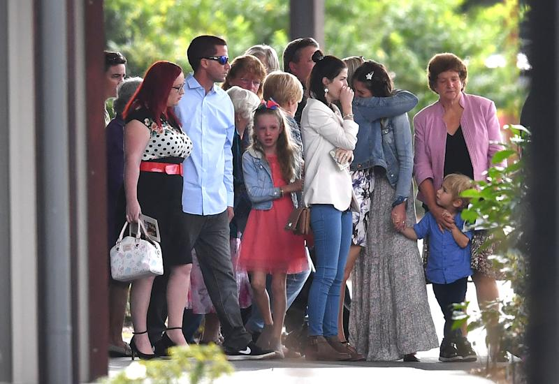 Family and friends seen at Indie Armstrong's funeral in Buderim