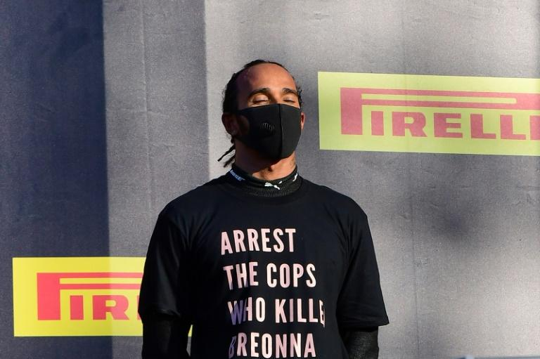 Triumphant Hamilton demands justice for Breonna Taylor
