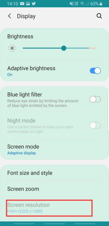 Screenshot of Screen Resolution settings on Samsung Galaxy S8