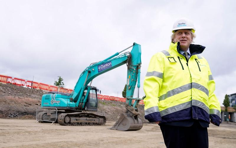 Boris Johnson visited a construction site in Dudley as he launched his expansive building plan. - ANDREW PARSONS/EPA-EFE/Shutterstock