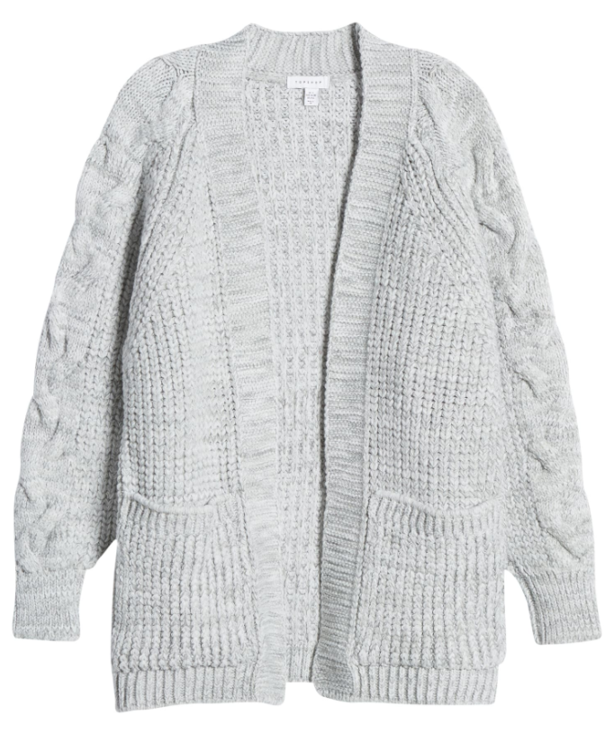 Topshop Cable Sleeve Cardigan in Grey