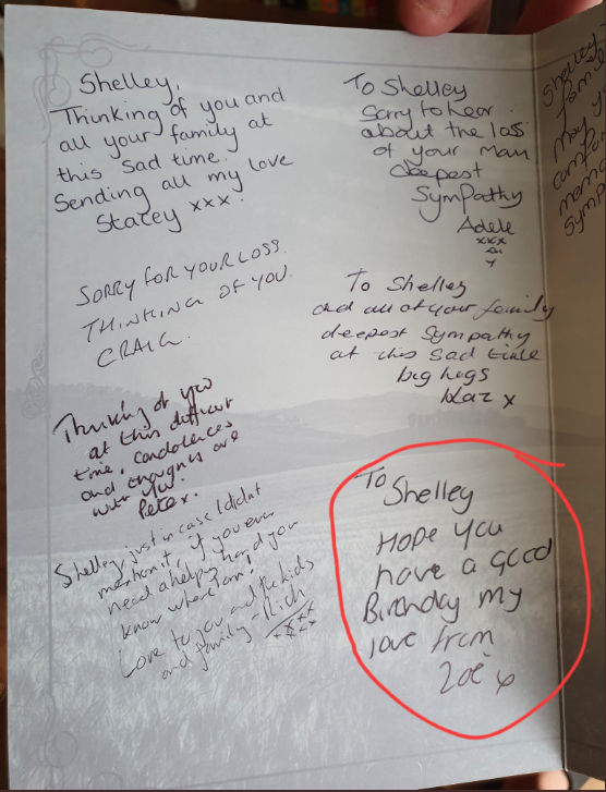 Messages inside a condolence card
