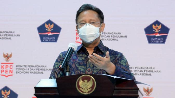 Ketua Satgas PEN Budi Gunadi Sadikin mengakui ada beberapa program Perlindungan Sosial yang masih terus diupayakan realisasinya saat jumpa pers di Kantor Presiden, Jakarta, Rabu (2/9/2020). (Tim Komunikasi Komite Penanganan COVID-19)