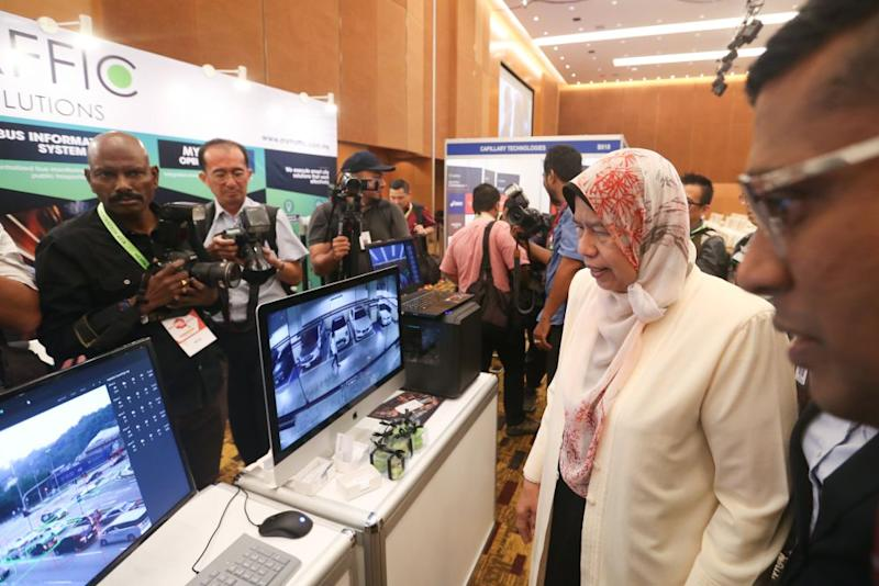 Housing and Local Government Minister Zuraida Kamaruddin is pictured at the 2019 Smart Cities Asia Conference and Exhibition in Kuala Lumpur September 11, 2019. — Picture by Firdaus Latif