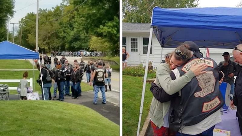 A group of nearly 30 bikers in Denver, Indiana, are seen on the left lining up a little girl's lemonade stand. On the right is a photo of Daryn Sturch reuniting with one of the bikers she helped during an accident.