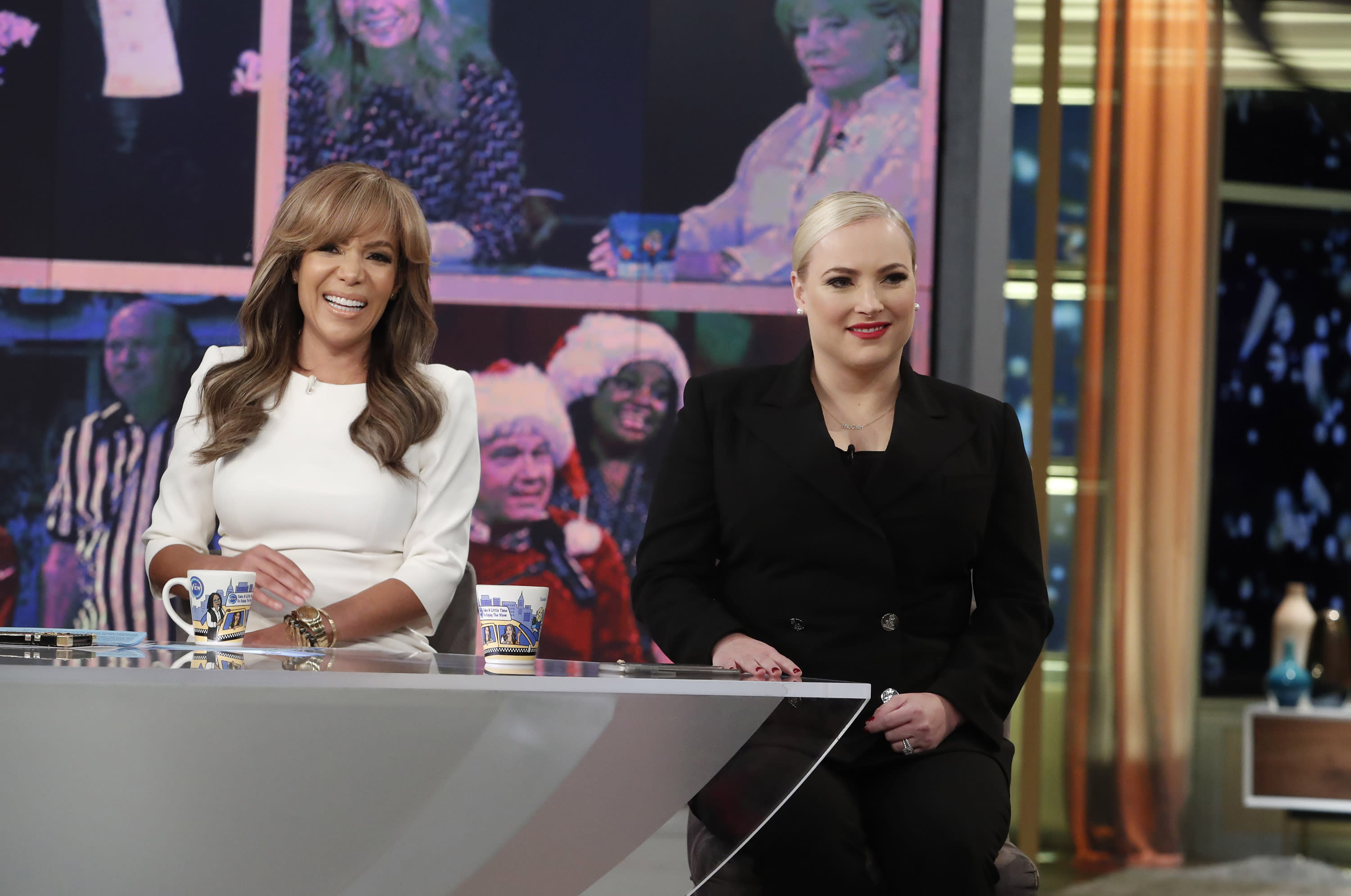 Sunny Hostin and Meghan McCain (pictured last November on The View set) aren't fans of Melania Trump's rose garden renovations. (Photo: Lou Rocco/ABC via Getty Images)