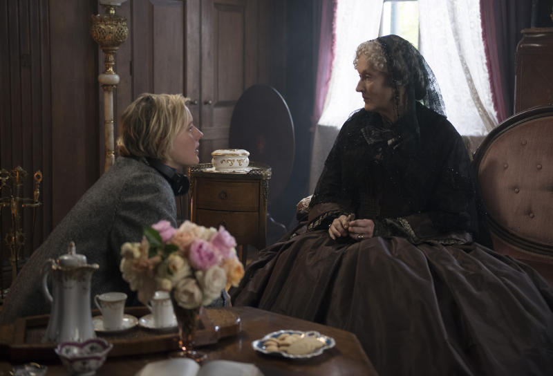 """This image released by Sony Pictures shows, writer-director Greta Gerwig, left, and actress Meryl Streep on the set of """"Little Women."""" Women directed 12 of 2019's top 100-grossing films in 2019, according to a study released Thursday by USC Annenberg Inclusion Initiative Female filmmakers. (Wilson Webb/Sony Pictures via AP)"""