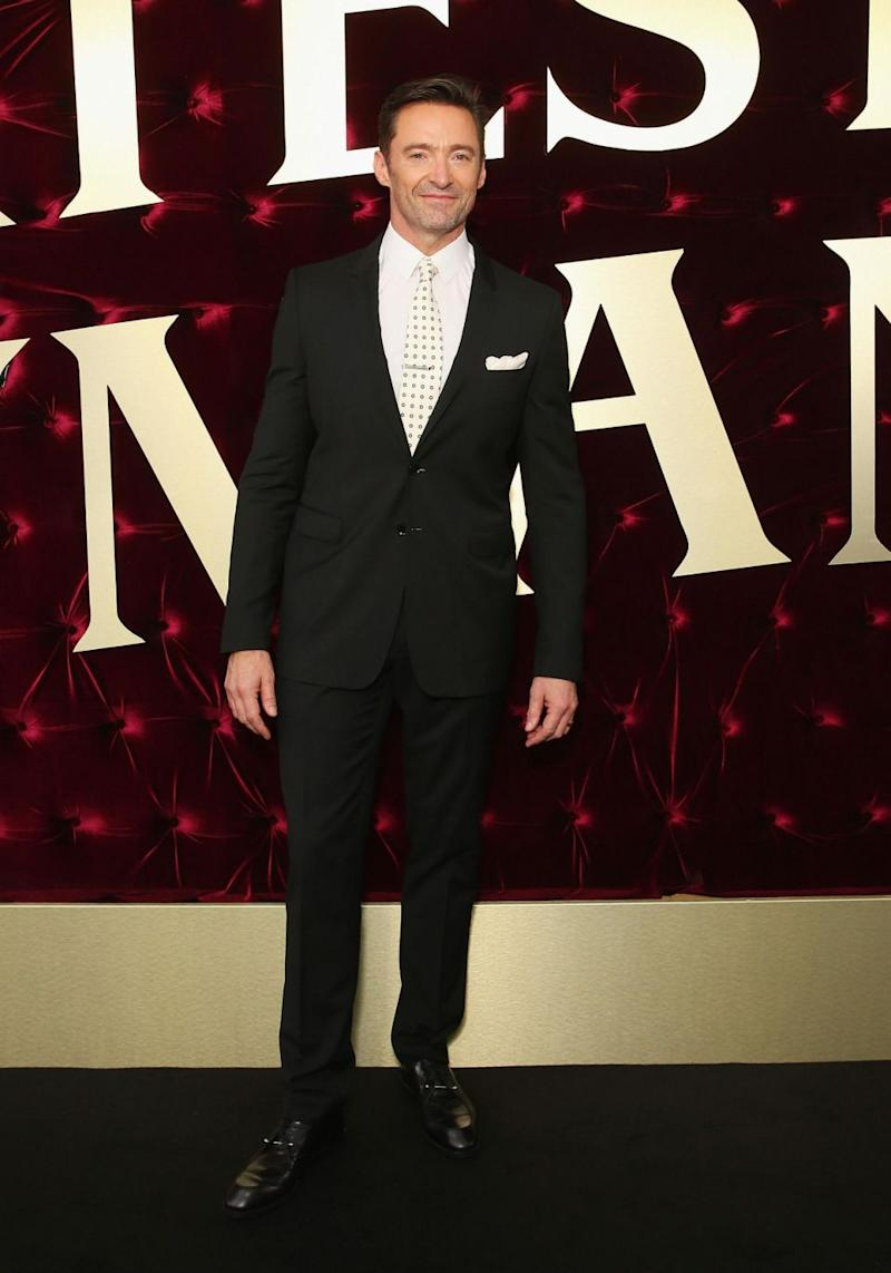 Hugh's in town to promote his new film The Greatest Showman, in which he portrays P. T. Barnum, who founded the Barnum & Bailey Circus in real life. Source: Getty