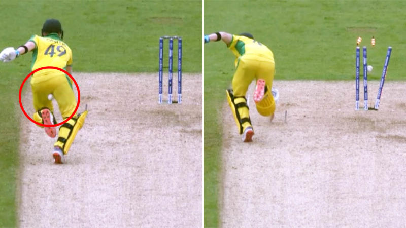 The ball actually went through Steve Smith's legs and onto the stumps to run him out. Image: ICC